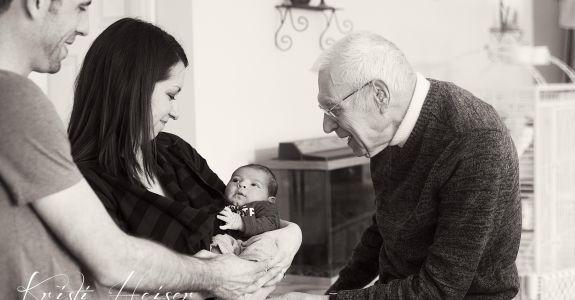 Great Grandpa Meets Carter {Newborn}